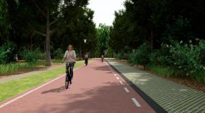 Impressie fietsstraat zonder middengeleider Reeshofdijk