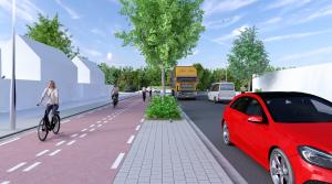 Een digitale impressie hoe een breder fietspad in de Kasterenlaan eruit komt te zien