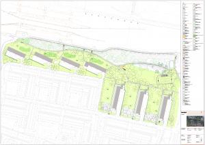 Definitief ontwerp park Kruizemuntweg. Op het ontwerp wordt aangegeven waar alle bomen komen te staan en je ziet de locaties van de verschillende speeltoestellen. Het park is aangegeven in groen.