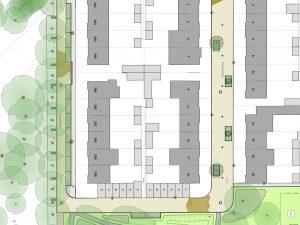 Close-up van ontwerp van eenrichtingsverkeer Mozartlaan en Cramerstraat