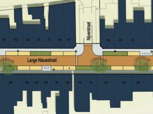 Ontwerp van de groenvakken langs de weg in de Lange Nieuwstraat
