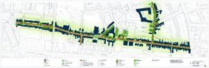 Gehele schetsontwerp van de Lange Nieuwstraat en zijstraten