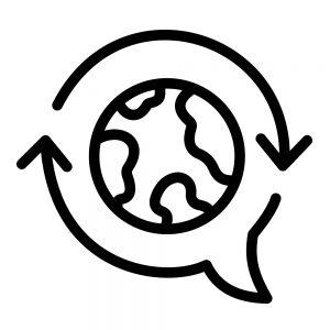 Logo van wereldbol met een praatwolkje eromheen